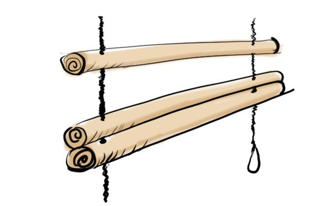 百均の丸棒に針金を通す